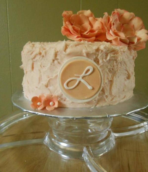 Mothers Day Cake Peach Colored Almond Swiss Meringue...