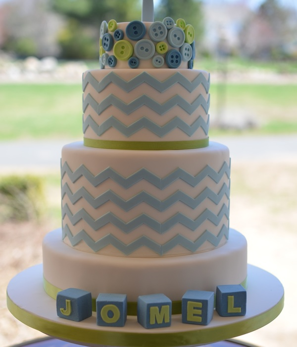Buttons Blocks And Chevron Christening Cake