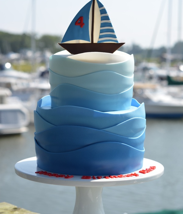 Sailboat Birthday Cake With Gradient Colored Waves