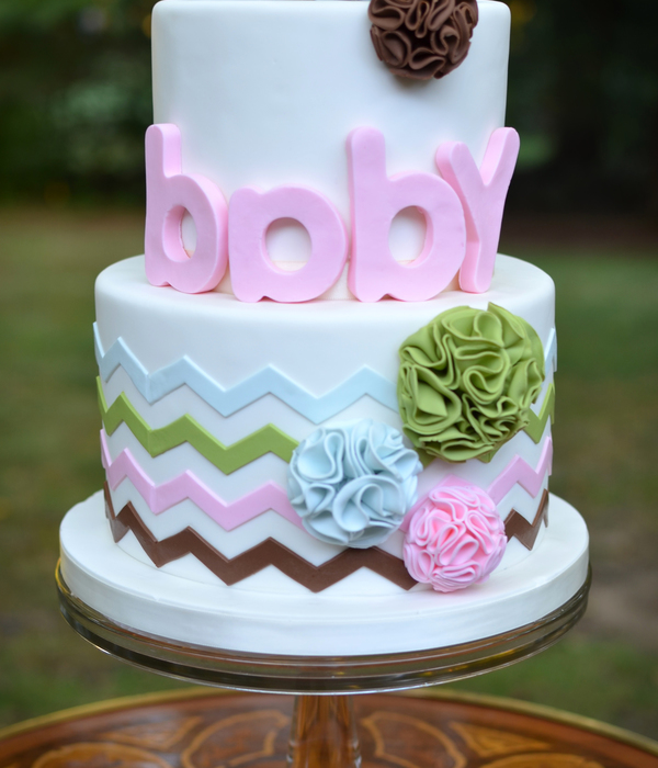 Pom Pom And Chevron Baby Shower Cake In Modern Color Range