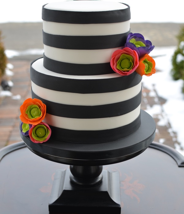 Black And White Striped Cake With Brightly Colored Sugar...
