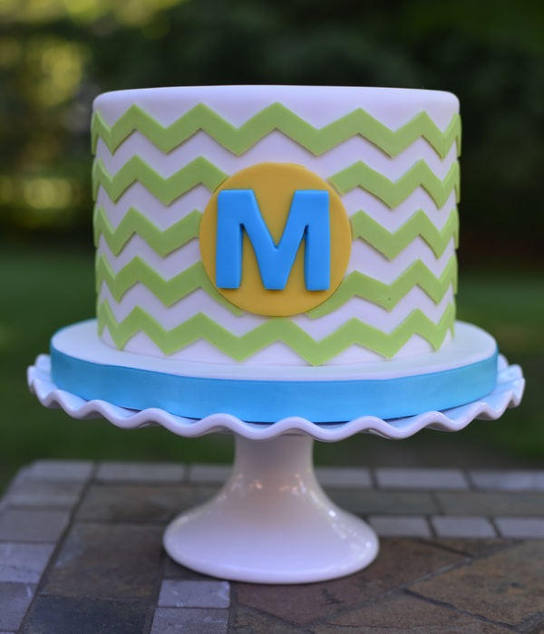 Bright Chevron Cake With Monogram