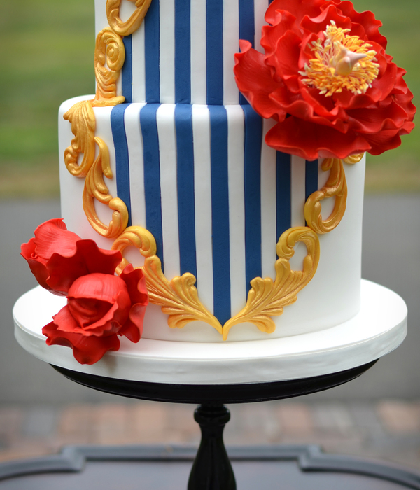 Red White Blue And Gold Wedding Cake