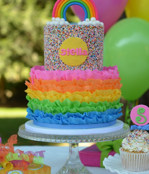 Rainbow Ruffle And Sprinkles Cake It Is Rainbow Cake On The Inside As Well