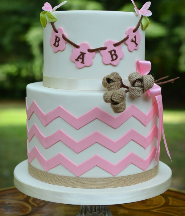 Sweet Baby Shower Cake With Chevron And Burlap Details