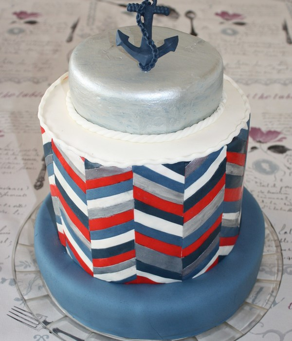 Chevron Doublebarrel Navy Cake
