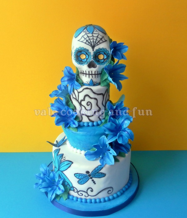Tattoo Cake With Sugar Skull And Blue Lilies