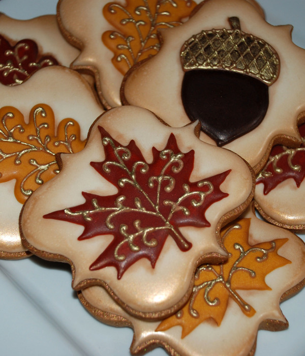 Antique Fall Leaf Cookies With Gold Accents