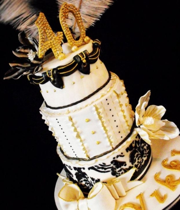 3 Tier Cream, Black And Gold Birthday Cake