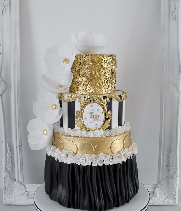 Black And White With Gold Sequins