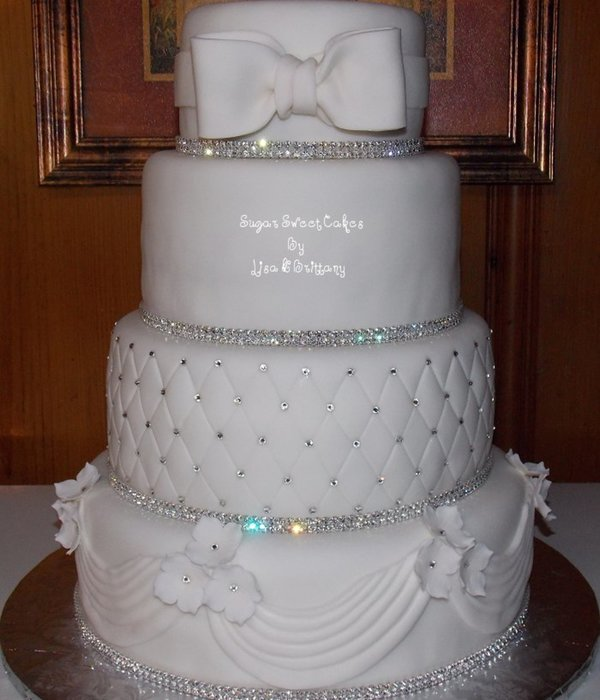 Crystal & White Wedding Cake