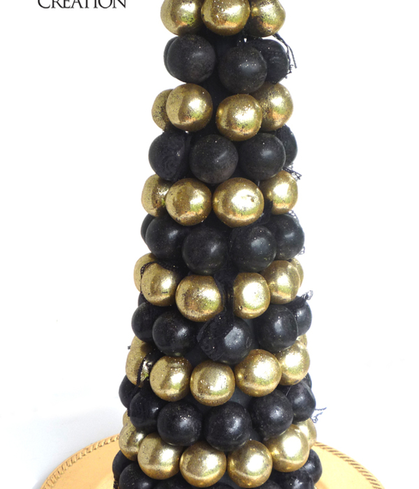 Great Gatsby Inspired Cake Ball Tree In Black And Gold