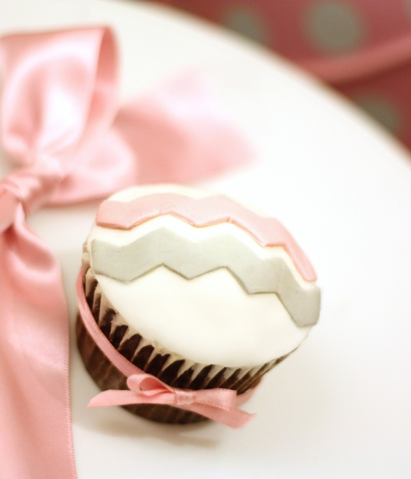 Chevron Cupcake In Pink And Grey