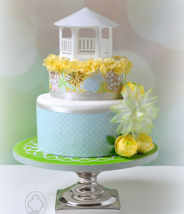 Cake With Wafer Paper Gazebo And Flowers (Ranunculus And...