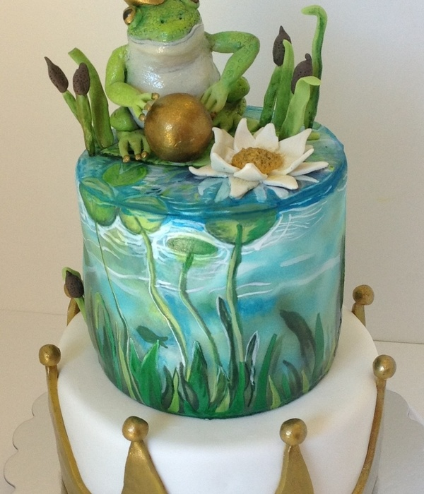 First Birthday Cake Hand Painted Top Tier Fondant Crown On Bottom Tier And Modeling Chocolate Cake Topper