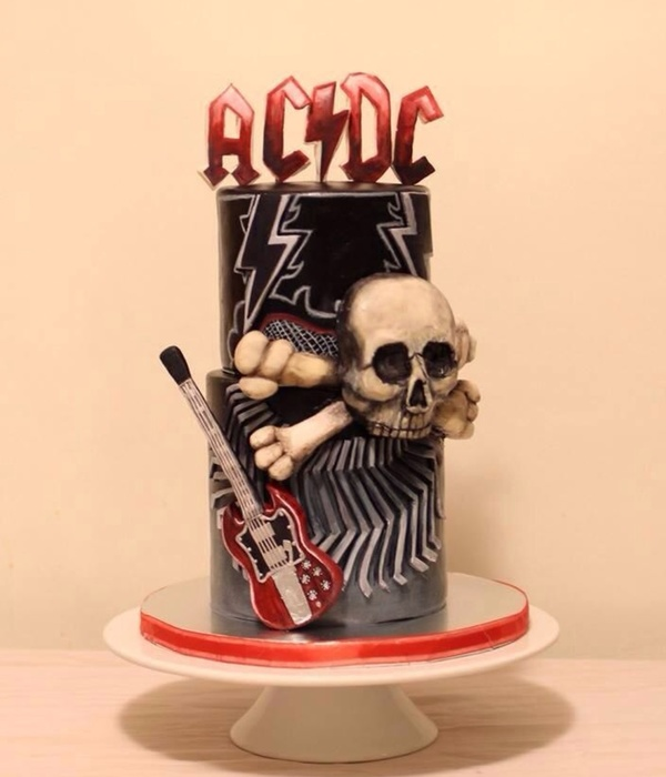 Acdc Themed Birthday Cake Modeling Chocolate Letters On Top Skull And Guitar Fondant Hand Cut Pattern On Bottom Tier And Hand Painted T