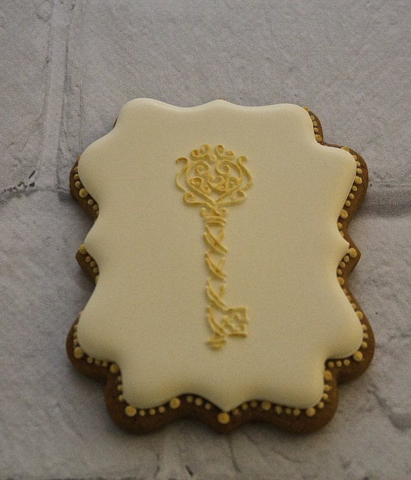 Royal Icing Decorated Cookie With Hand Piped Key Heart...