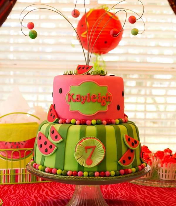 Watermelon Theme Birthday Cake
