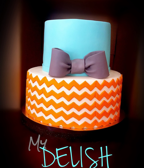 Baby Shower Cake Tiffany Blue With Orange Chevron