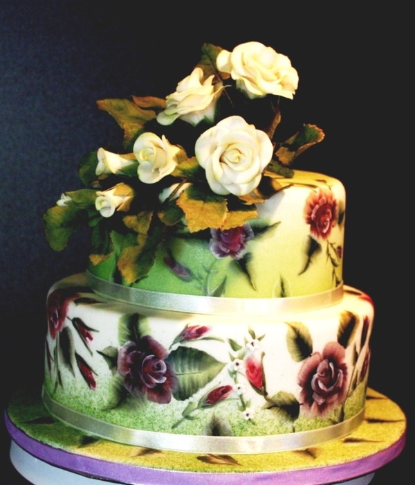One-Stroke Painting Roses Cake