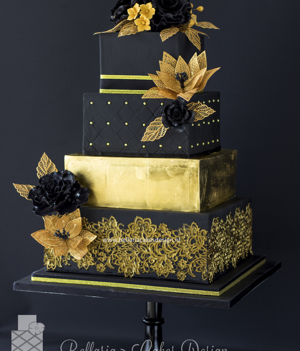 Gold Wedding Cake Decorations: Black And Gold Wedding Cakes