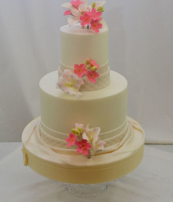 Tropical Sugar Flowers In Pink 8 And 4 Buttercream Finish...