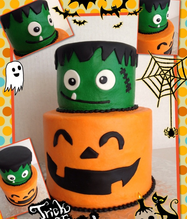 Buttercream In Orange And Green With Fondant Decorations
