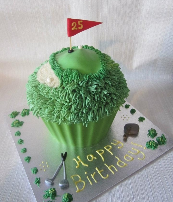 Giant Golf Themed Cupcake!