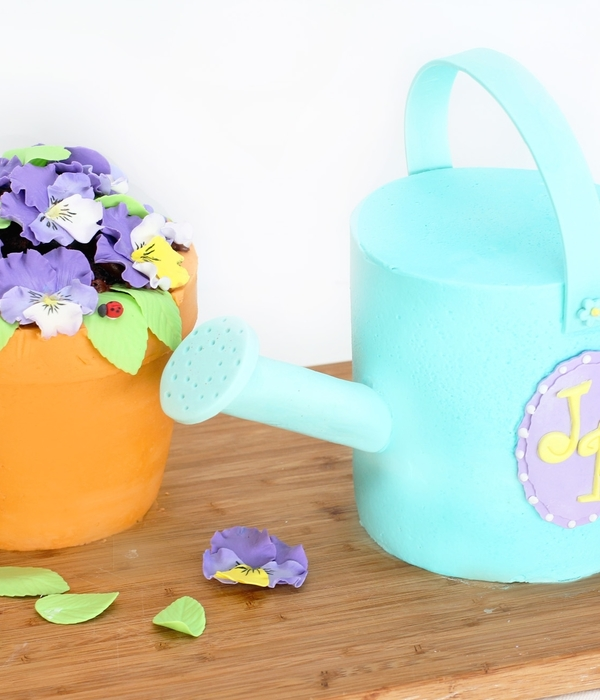 Pansy Pot With Watering Can And Garden Fairy