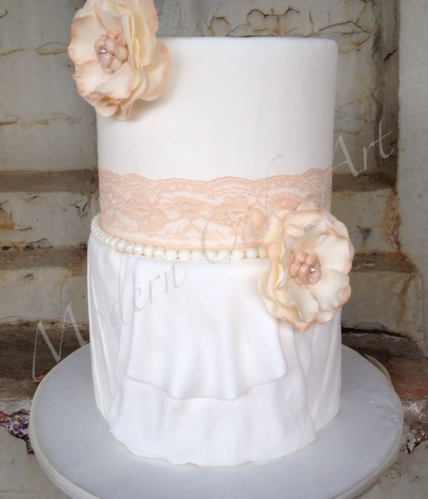 Fabric Inspired Wedding Cake With Fabric Styled Flowers