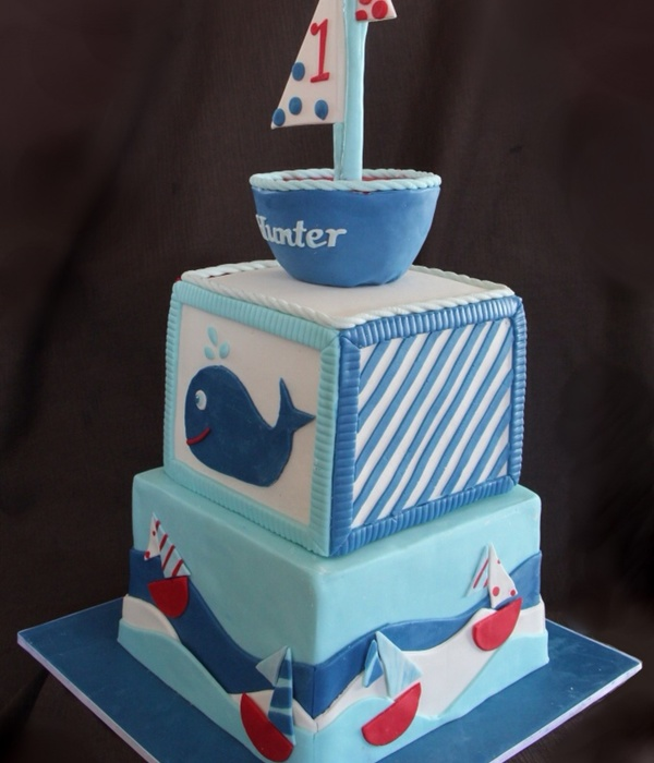 Sail Boat First Birthday Cake