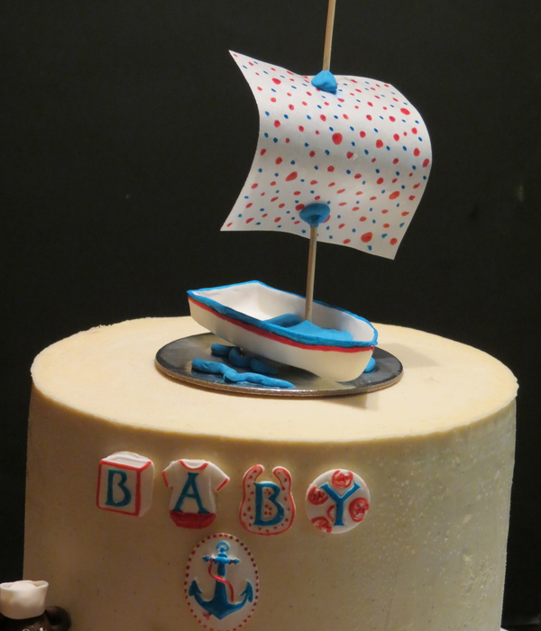 Applemark Vanilla Bean Cake With Chocolate Ganache And Vanilla Bean Smb Fondant Embellishments And Wafer Paper Sail