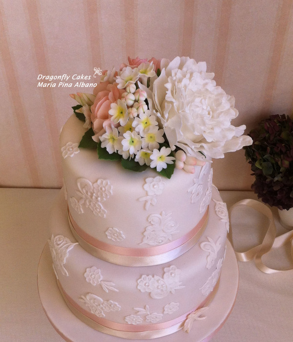 Romantic Cake With Lace And Handcrafted Sugar Flowers