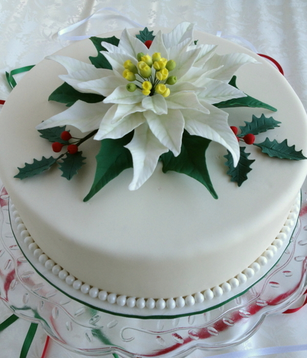 White Poinsettia Cake With Holly Leaves And Berries I Was...