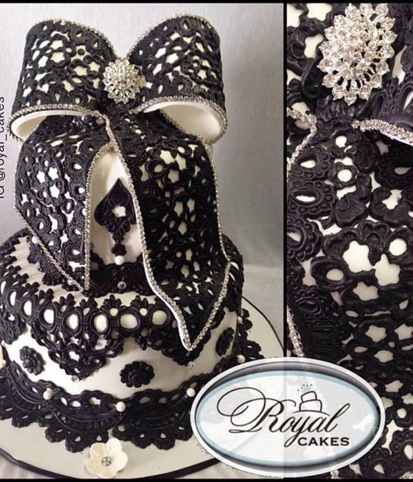 Love Lace Black Lace Birthday Cake Dramatized With An Oversized Bow