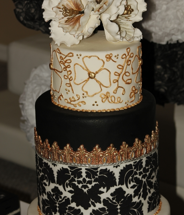 Wedding Cake Black&white Silver-Gold