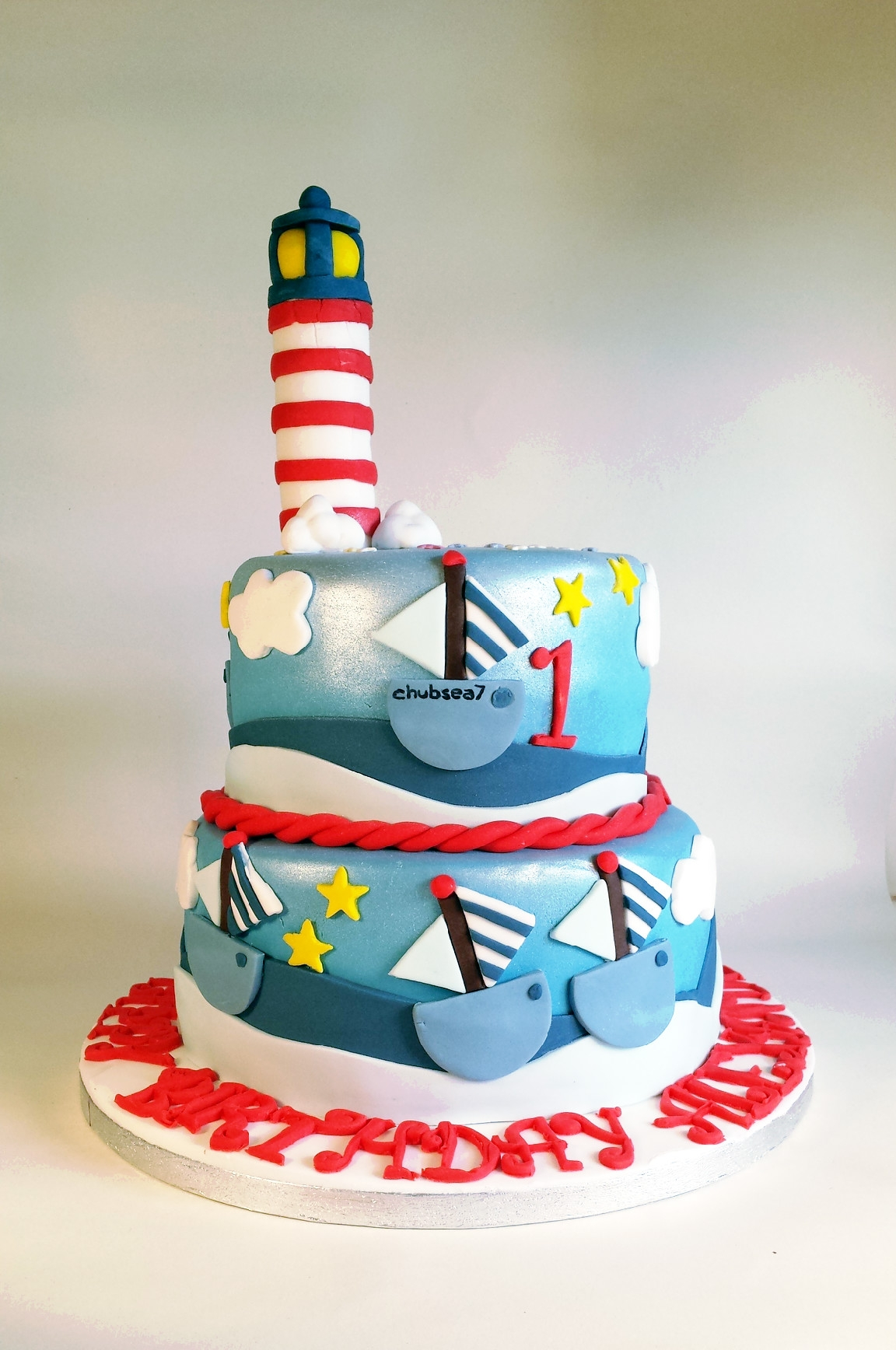 Lighthouse And Boats Nautical Sailing Cake