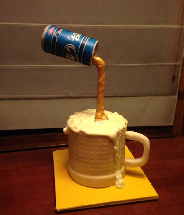 First Gravity Cake Yellow Cake Covered In Fondant Marshmallow Foam Beer Can Made Of Molding Chocolate Label Of Rice Paper Liquid Pouri
