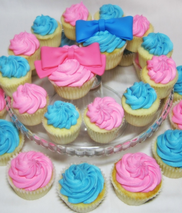 Gender Reveal Party Cupcakes- Bows And Bow Ties