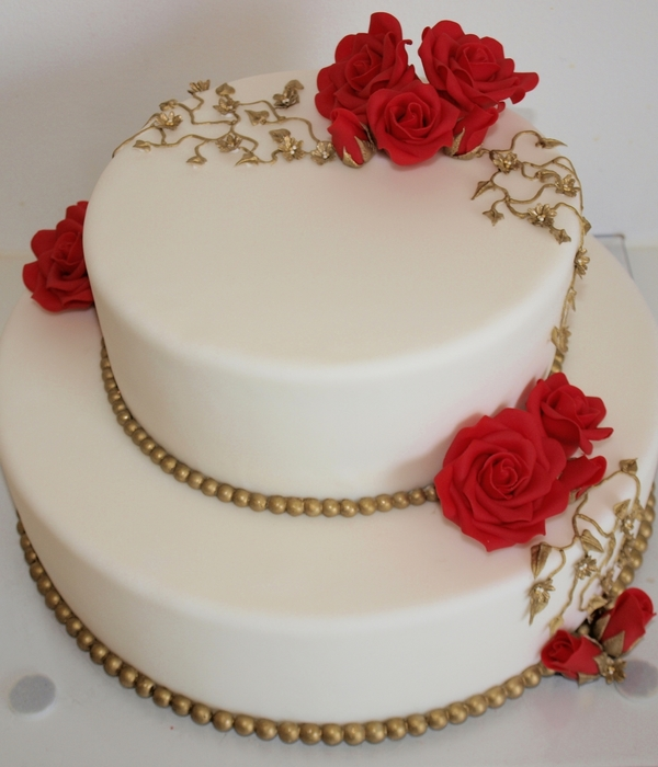 Rose Golden Wedding Cakes