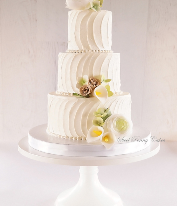 Textured Buttercream With Sugar Roses Calla Lilies And...