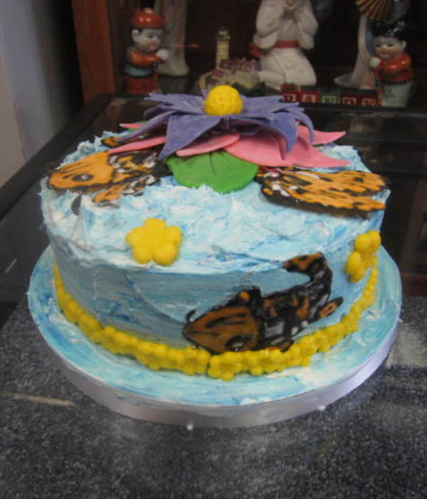 Koi With Lotus Flower Cake