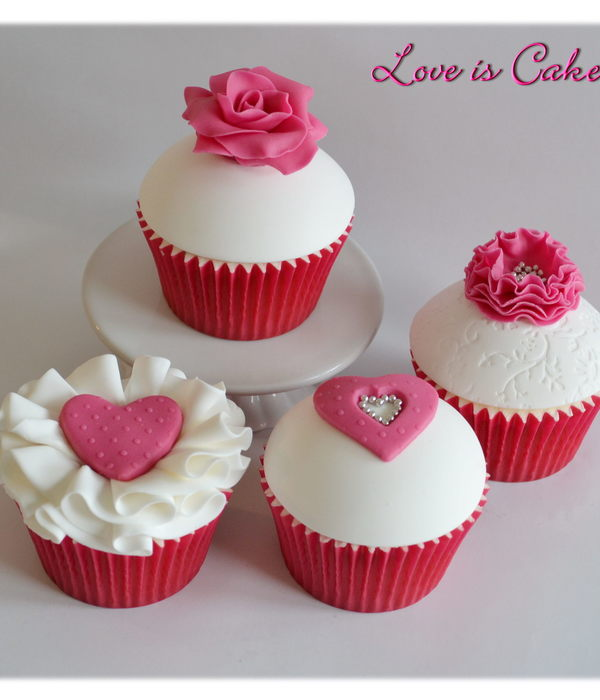 Pink And White Valentines Day Cupcakes By Loveiscakecouk