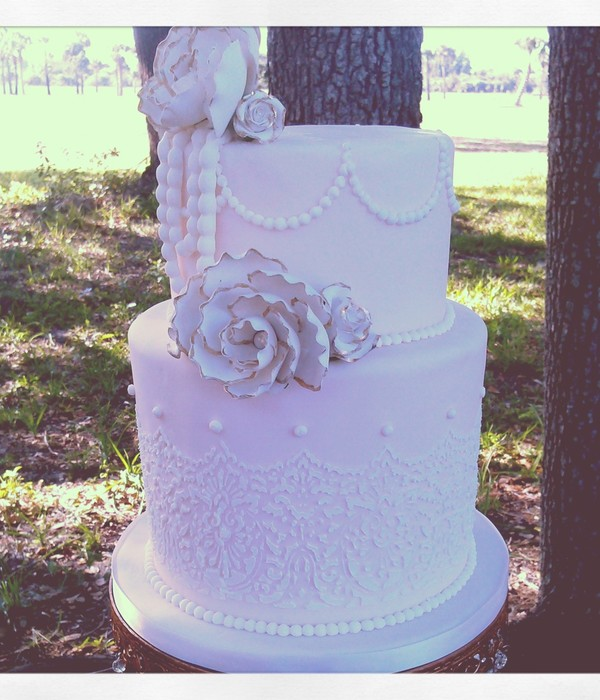 Vintage Blush Themed Wedding Cake Lace Work Was Done With...