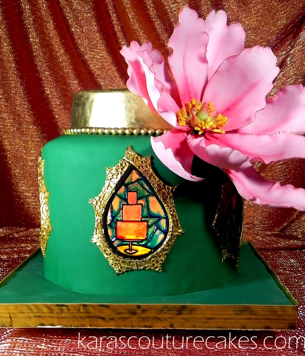 Illuminated Stainded Glass Cake With Chinese Peony