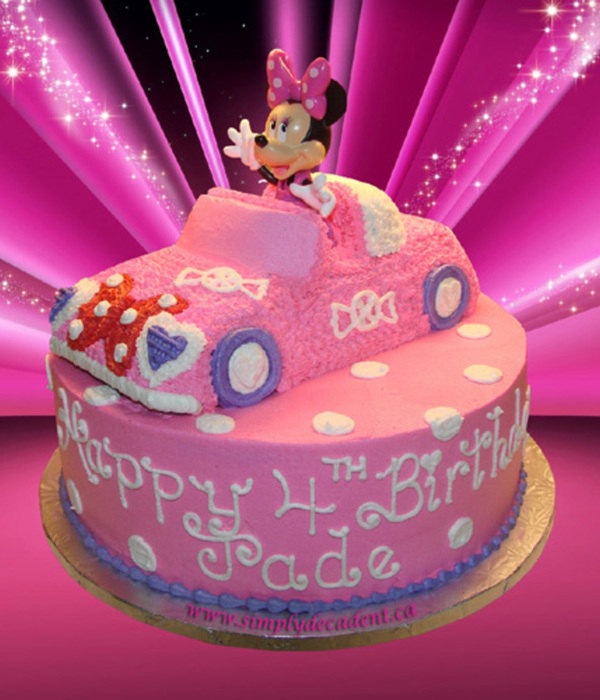 3D Minnie Mouse Car On A 12 Round Cake