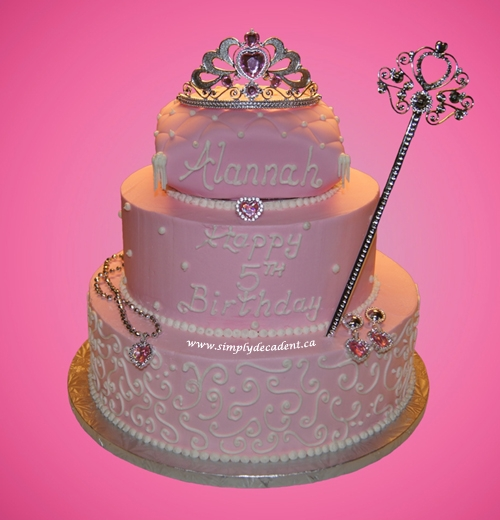 3 Tier Buttercream Princess Birthday Cake With Crown Wand...