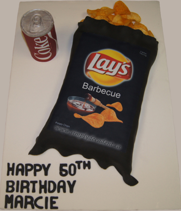 3D Lays Bbq Potato Chip Bag Amp Coke Can Cake