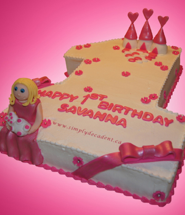 Sculptured Buttercream 1 Birthday Cake With Pink Fondant...