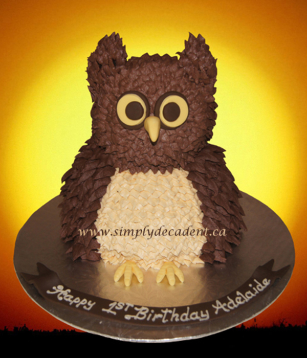 3D Buttercream Owl Cake